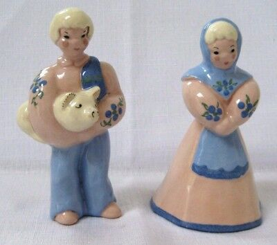 Kay Finch  Boy and Girl Pink and Blue Mid Century Pottery made in CA