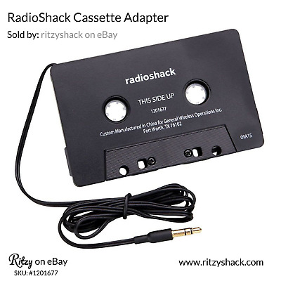 """Cassette Adapter with 1/8"""" (3.5mm) Plug for MP3 or CD Player, RadioShack 1201677"""