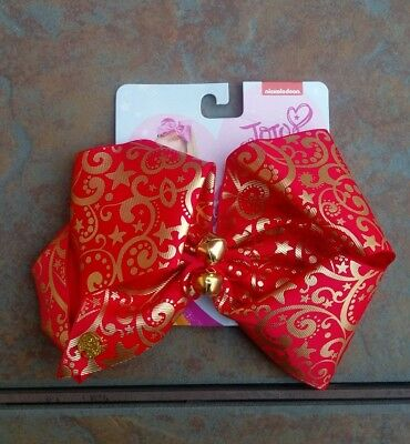 New Jojo Siwa Signature Bow ~ Justice Exclusive ~ Red/gold Christmas Jingle Bell