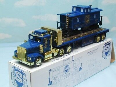 18 Wheel Semi Police Flatbed Truck W Caboose 1/32 Scale Lights Sound (D82)