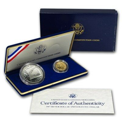 1987 US Constitution 2 Coin Proof Set with Box and COA