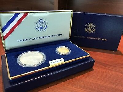 1987 US Constitution 2 Coin Uncirculated Set in Original Government Box