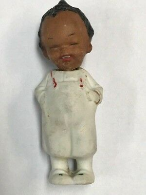 "Antique Porcelain African America Boy Figure 3 1/4"" Head moves, Made in Germany"