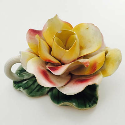 CAPODIMONTE Vintage Porcelain Rose Flower Candle Stick Holder - Made In Italy