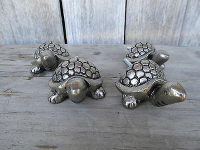SEA TURTLE TORTOISE Pewter Silver Metal Nautical KNOB Cabinet DRAWER PULL