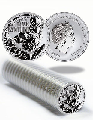 Roll of 20 - 2018 Tuvalu Black Panther 1 oz Silver Marvel $1 BU Coins SKU52236