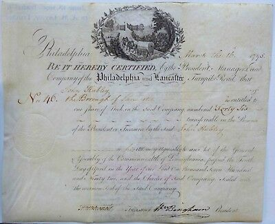 Antique 1795 Philadelphia and Lancaster Turnpike Road Stock Certificate