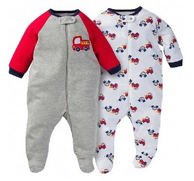 Gerber Baby Boy 2-Pack Firetruck Sleep N' Play Size NB; Baby Shower Clothes Gift