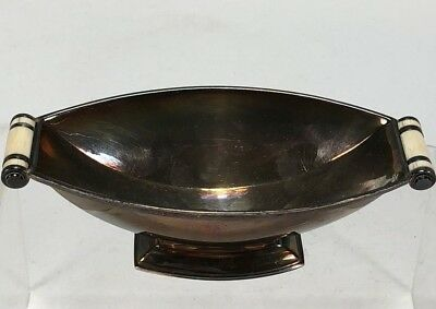 RARE Art Deco English London Britannia Silver Bowl w Bone Handles Garrard & Co