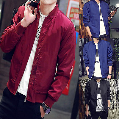 Men Bomber Biker Motorcycle Padded Jacket Coat Winter Zip Casual Baseball Jacket