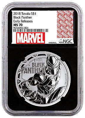 2018 Tuvalu Black Panther 1 oz Silver Marvel $1 NGC MS70 ER Black Core SKU52250