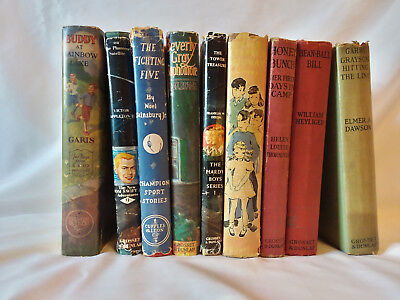 Lot of 9 vintage antique decorative children's series books Hardy Boys Tom Swift