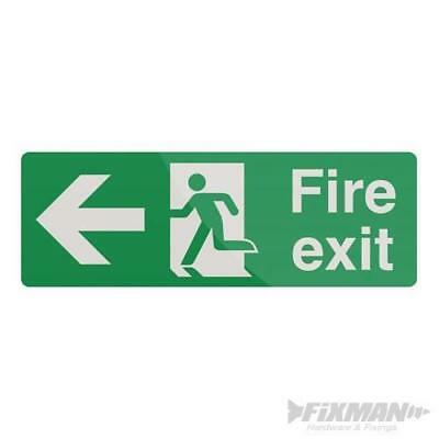 Fire Exit Arrow Sign 400 x 150mm Rigid Left Signage Safety Signs 898990