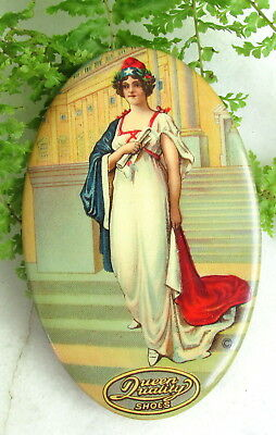 Antique Celluloid Advertising Pocket Mirror Queen Quality Shoes Louisville Ky