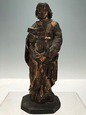 Very Old Possibly 17th Century Carved Wood Santos Figure Apostle *MUST SEE* 9""