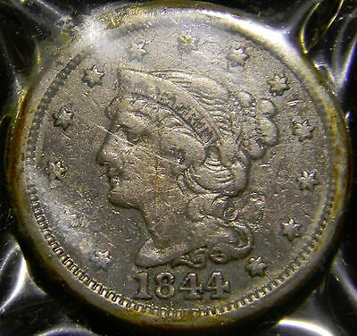 1844 Liberty Head Braided Hair Large Cent, Grade is Fine