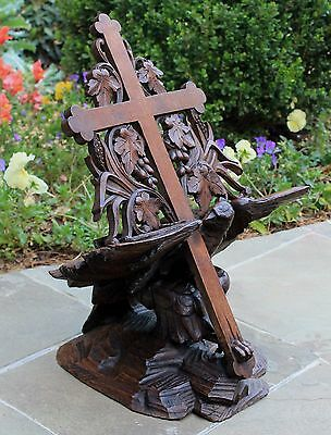 Antique French BLACK FOREST Hand Carved Oak EAGLE Cross Bible Book Stand Holder