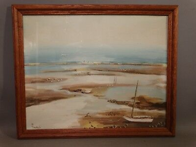 Ca.1940 Antique OUTER BANKS Beach LOW TIDE Old NORTH CAROLINA Sailboat PAINTING