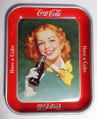 P298. Vintage: COCA COLA Metal Serving Tray Red Head Lady Have A Coke (1940's) [