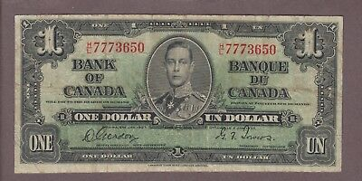 1937 $1 Dollar Gordon Towers - Prefix H/L - Bank of Canada - D407