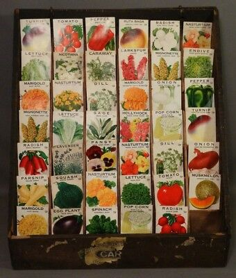 Antique COUNTRY STORE Vintage GARDEN Ruppert SEED PACKET Old COUNTER DISPLAY Bin