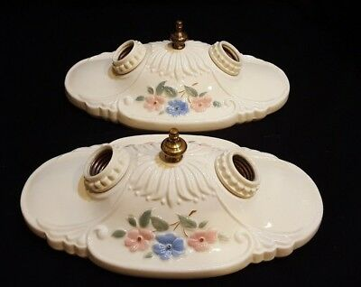 Pair of Vintage Porcelier Porcelain 2-Bulb Ceiling Light Fixtures, Rewired