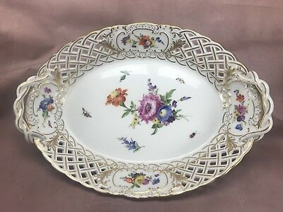 Meissen German 19thC Full Flowers w/ Insects Reticulated Serving Bowl (MSS64)