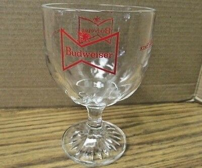 Vintage BUDWEISER Heavy Clear Glass 16 oz Beer Goblet ~ Beer Glass