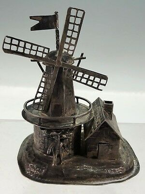 Very Rare Unusual Large Dutch .833 Silver Windmill Spice Box w House and Person!