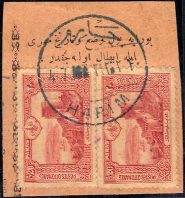 Syria Turkey 1905 Harim Super Full Cancel C&w # 63 Tying Pair 20 Paras On Piece