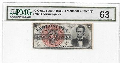 1863 4Th Issue 50 Cents Fractional Currency Lincoln At Right Pmg 63 Cu