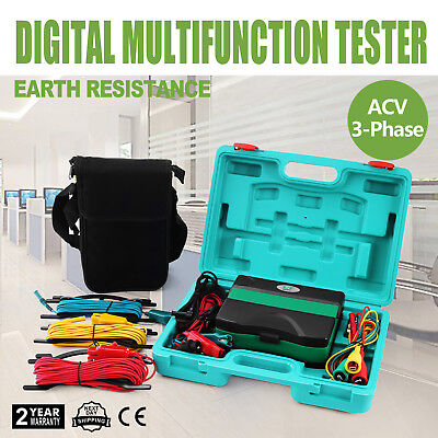 Earth Ground Resistance + Insulation + Phase Sequence + Ac600V Lcd Tester Meter