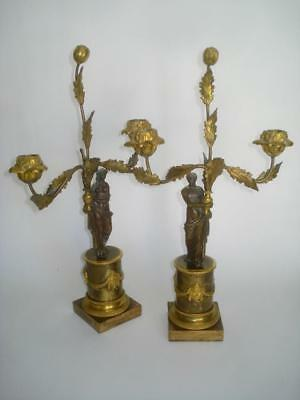 Pair Antique Empire French Gilt Bronze Ormolu Candleabra Classical Figure 19Th C