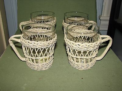 5 Vintage Wicker Wrapped Libbey Glasses Tumblers Coffee Mugs 5 Oz.