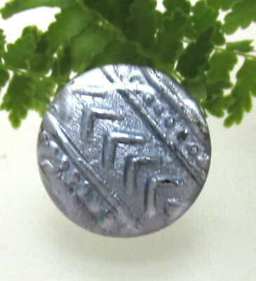 Gorgeous Silvery Luster Glass Charmstring Button With Rosette Shank J7