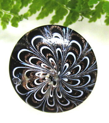 Stunning Antique Swirl Back Glass Nailsea Button W/ White & Gold Loops J12