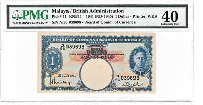 Malaya British Administration 1941 Nd(1945) $1 Dollar Pmg40 Printer W&s Banknote
