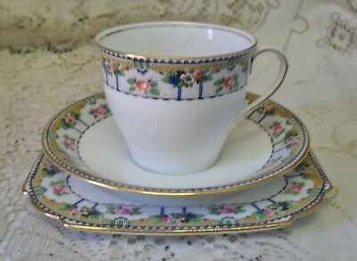 Vintage Aynsley Blue Green Pink Trio Cup Saucer Square Plate Made In England