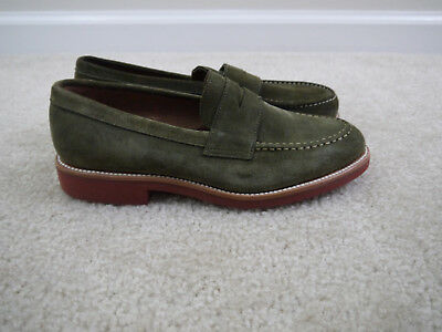 74460e2e8d7  198 J.CREW KENTON suede penny loafers Green size 8 Item A6312 NWD ...