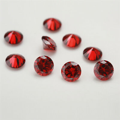 100pcs 0.8~15mm Garnet cz stone 5A Round Brilliant cut loose Cubic Zirconia