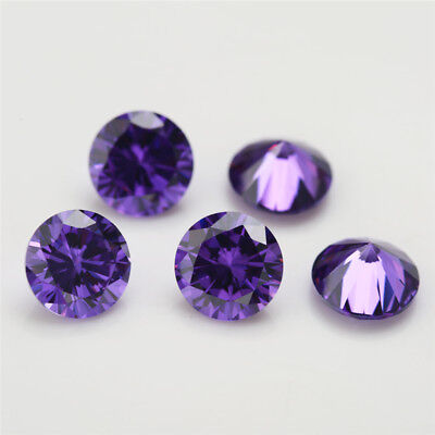 100pcs 0.8~15mm Violet cz stone 5A Round Brilliant cut loose Cubic Zirconia