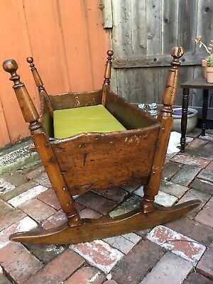 Antique American Maple Pilgrim Century Cradle Late 17th / Early 18th C Crib AAFA