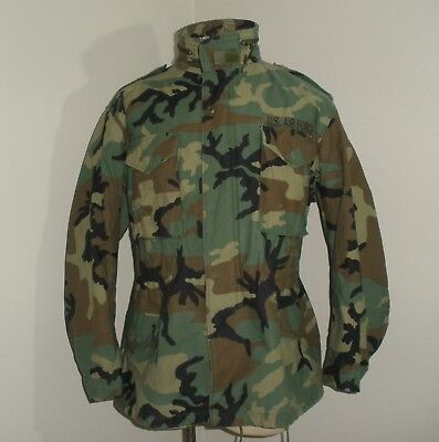 Vtg 90's WOODLAND CAMO AIR FORCE Military M-65 Style cold weather Field Jacket L