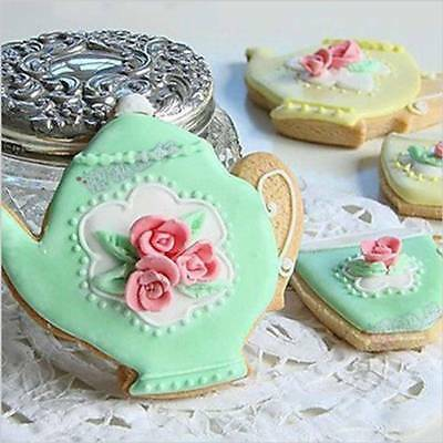 2pcs Teapot Tea Cup Set Cookie Cutter Stainless Steel Moulds Metal Cake hot