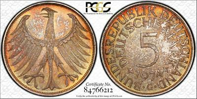 1974 G Germany Federal Republic 5 Mark Rainbow Toned Pcgs Ms66 World Coin Lot