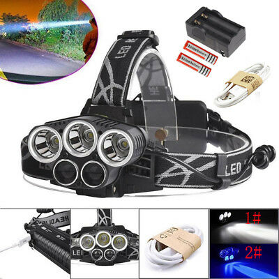 80000LM 5x XM-L T6 LED Headlamp Zoomable HeadLight With 18650 Battery +USB Cable