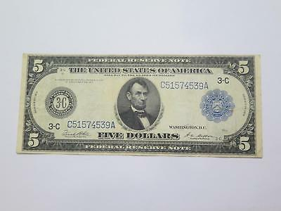 1914 $5 Federal Reserve Note Philadelphia Old Currency Banknote Collection Lot
