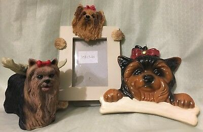 Adorable Yorkie Dog Figurine W/ Angel Wings Christmas Ornament Picture Frame