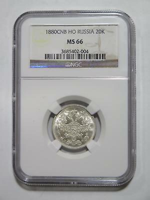 Russia Empire 1880 Cnb 20 Kopek Ngc Ms66 Top Toned Old World Coin Collection Lot