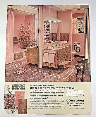 Vintage 1950s 50s AD Pink Bathroom Armstrong Floors Mid Century Modern 1957 AD